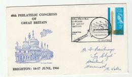 1966 Brighton GB PHILATELIC CONGRESS VENT COVER Ship Pmk Post Ofice Tower Stamps Philatelic Exhibition - Esposizioni Filateliche