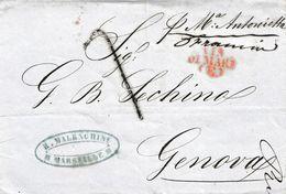 """VM179 - VIA DI MARE - Lettera Da MARSIGLIA A Genova Del 1854 Tassata """"7"""" Soldi Col """"Maria Antonietta""""  Leggi - 1863-1870 Napoléon III Lauré"""