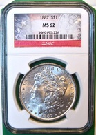 1887 Morgan Silver Dollar. NGC Certified MS62. M3. - Federal Issues
