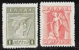 Greece, Scott # 214-5 Mint Hinged Hermes, Iris, 1913 - Unused Stamps