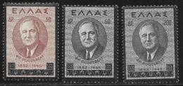 Greece, Scott # 469-71 MNH Roosevelt, 1945 - Greece