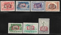 Greece, Scott # 472-6 MNH Various Subjects Surcharged, 1946 - Greece
