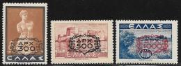 Greece, Scott # 477-9 MNH Various Subjects Surcharged, 1946 - Unused Stamps