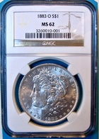 1883-O Morgan Silver Dollar. NGC Certified MS62. M4. - Federal Issues