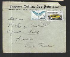 Suisse  LETTRE DU 15  11  1938  DES BOIS( 1219 Hts )   Vers Goumois  169 Habitants  ( Doubs ) Vignettes Au Verso - France