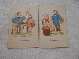 2 ILLUSTRATIONS ...COSTUMES..FOLKLORE...EN NORMANDIE ...SIGNE RENAUDIN - Illustrateurs & Photographes