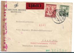 SLO005 / Expressbrief 1942, Von Bratislava Nach Prag, Mit Zensur - Slowenien
