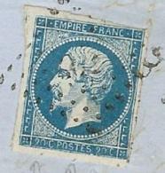 N°14 (variété) Oblitéré Petit Chiffre  Sur Fragment De Lettre Haute Marne - 1853-1860 Napoleon III