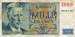 Billet  De 1000 Francs  Du 28.03.50  N°0888 R 467 Circulé - [ 2] 1831-... : Royaume De Belgique