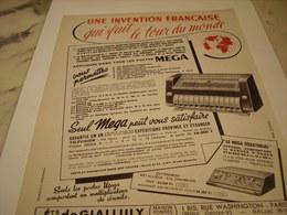 ANCIENNE PUBLICITE INVENTION FRANCAISE LES POSTE MEGA 1952 - Advertising