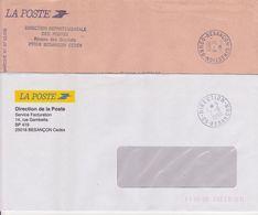Lot 2 Lettres TàD Manuel Non Codé A8 1988 Et Codé 1996 A9 DDP DIRECTION Départementale 25 BESANCON Doubs En Franchise - Marcofilia (sobres)