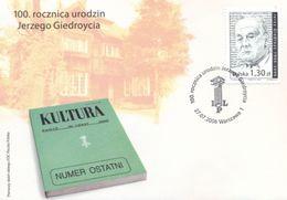 POLAND FDC 2006 100 YEARS CENTENARY BIRTH JERZY GIEDROYC JOURNALIST WRITER AUTHOR POLITICAL ACTIVIST PARIS FRANCE - Scrittori