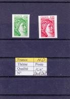 1980 France Sabine Non Dentelé  2101 à 2102 ** - 1977-81 Sabine Of Gandon