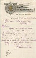 Etats Unis. Kentucky - Louisville -  Entête Du 28 Août 1894 - Herrmann Bros. Fine Wines And Liquors - Etats-Unis