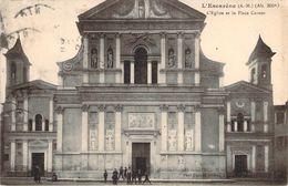 RARE CPA L'Escarène L'église Et La Place Carnot (animée) N2032 - L'Escarène