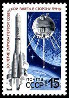 USSR Russia 1989 30th Anniv First Soviet Moon Flight Space Vostok Luna Satellite Astronomy Lunar Sciences Stamp MNH - Astronomy