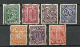 Deutsches Reich 1920 = 7 Werte Aus Michel 23 - 33 Dienstmarken * - Ungebraucht