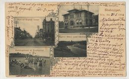 Sheboygan Wis. 1904 Milti View Post Office Bathingscene Pigeon River Used - Etats-Unis
