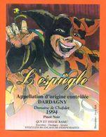 """étiquette De Vin Pinot Dardagny """" L'éspiègle """" Domaine De Chafalet Ramu à Genève - Illustrée Jerry Koch -70 Cl - Collections & Sets"""
