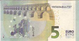 (Billets). 5 Euros 2013 Serie VB, V009H4 Signature 3 Mario Draghi N° VB 3604844737 UNC - EURO