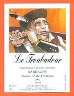"""étiquette De Vin Gamay Dardagny """" Le Troubadour """" Domaine De Chafalet Ramu à Genève - Illustrée Jerry Koch -70 Cl - Collections & Sets"""