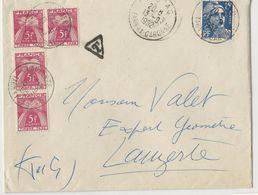 Lettre (1952) De Moissac à Lauzerte - Affranchie à 15 Frs Et Taxée à 20 Frs - Taxes