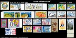 NOUV.-CALEDONIE Année Complète 2008 - Yv. 1034 à 1060 ** - 24 Tp ** MNH ..Réf.NCE23693 - Komplette Jahrgänge