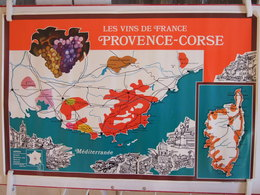 LES VINS DE FRANCE PROVENCE CORSE AFFICHE ANNEE 1990 ? BORD AVEC UN PEU D USURES ET ANGLES AVEC LEGERE TRACE DE SCOTCH - Affiches
