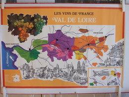 LES VINS DE FRANCE VAL DE LOIRE ANJOU TOURAINE NANTAIS AFFICHE ANNEE 1990 ?  ET 2 ANGLES AVEC LEGERE TRACE DE SCOTCH - Affiches