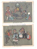 10554 - Lot De 3 Chromos BISCUITS PERNOT : La Danse, Les Bulles De Savon, Le Singe Savant - Pernot