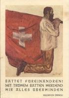 """Schweiz Suisse 1949: Chillon 10c Braun Zu 242 Mi 363 Yv 348 Auf PK """"Gebet Huldrych Zwingli"""" MUHEN 3.X.40 (Zu CHF 1.50) - Christentum"""
