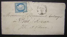 Saint AUBIN-D'AUBIGNE 1875 P.c.du G.C.3510 (Ille Et Vilaine) Sur N°60C Gros Indice, Lettre Pour Pont-Réan - Marcophilie (Lettres)