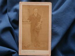 CDV Photo Rozaire - Homme Avec Son Violon, Musicien, Circa 1870 L357 - Photos