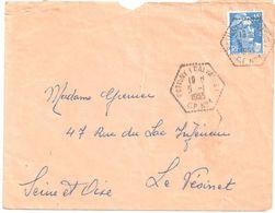 4417 POTIGNY Calvados 15F Gandon Bleu Yv 886 CPN°1 Ob1955 Hexagone Pointillé Poste Auto Rurale Lautier G7 Dos Défectueux - Postmark Collection (Covers)