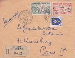 LETTRE. 1956. RECOMMANDE.  FONTENAY SOUS BOIS  POUR PARIS VII°. - France
