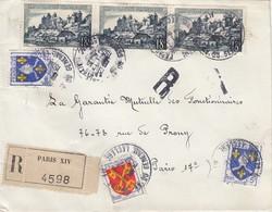 LETTRE. 1957. RECOMMANDE.  PARIS XIV  POUR PARIS VII°. - Francia