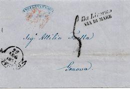 VM51 - VIA DI MARE- Lettera Da Livorno A Genova Del 22 Luglio 1858 Con Tassa A Tampone Pagata In Denaro Leggi... - Sardegna