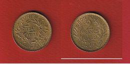 Tunisie  -  2 Francs 1945  --  Km # 248 - état  SUP  --  Rare En L état - Tunisie