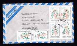 Argentina: Airmail Cover To Germany, 1991, 6 Stamps & Meter Cancel, Fire Tree Flowers (traces Of Use) - Brieven En Documenten