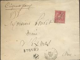 Lettre Chargée  SENAT  Affranchie Avec 50c - 1898-1900 Sage (Type III)