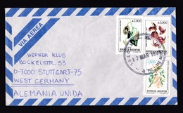Argentina: Airmail Cover To Germany, 1991, 3 Stamps, Flowers, Firetree, Orchid? (traces Of Use) - Brieven En Documenten