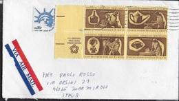 U.S.A. - BUSTA VIA AEREA CON QUARTINA MESTIERI - VIAGGIATA 1983 - Etats-Unis