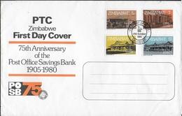 ZIMBABWE - BUSTONE F.D.C. - 75° ANNIVERSARY OF THE POST OFFICE SAVINGS BANK - 17/10/1980 - Zimbabwe (1980-...)