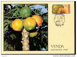VENDA   CARTE MAXIMUM NUM.YVERT 84 FRUITS SUBTROPICAUX - Venda