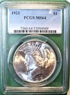 1923 Peace Silver Dollar. PCGS Certified MS64. M9. - Émissions Fédérales