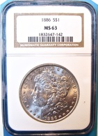 1886 Morgan Silver Dollar. NGC Certified MS63. M11. - Federal Issues