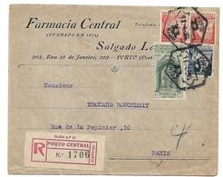 (C02) - AFINSA N°520 X2 + 546+532 - LETTRE RECOMMANDEE PORTO => FRANCE 1935 - BISMOGENOL SYPHILIS - 1910-... República
