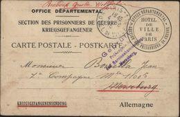 Guerre 14 Office Départemental Section Prisonnier De Guerre En Allemagne Mairie Paris Secours Aide Censure Merseburg - Postmark Collection (Covers)