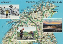 Postcard Map Of Norway Sweden And Finland [ Scandinavia ] My Ref  B22337 - Maps