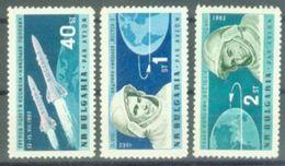BG 1962 SPACE, BULGARIA, 3v, MNH - Space